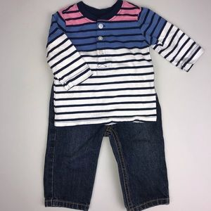 NWOT baby boy outfit. Blue jeans and top bundle